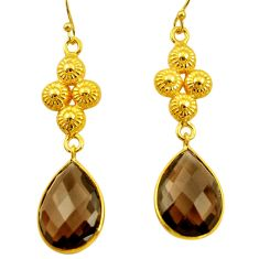 19.29cts victorian brown smoky topaz 925 silver two tone dangle earrings d34703
