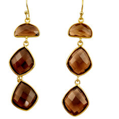 Clearance Sale- 22.14cts victorian brown smoky topaz 925 silver two tone dangle earrings d34711