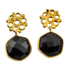 10.65cts victorian natural black onyx 925 silver two tone dangle earrings d34717