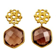 12.58cts victorian brown smoky topaz 925 silver two tone dangle earrings d34718