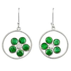 Clearance Sale- 925 sterling silver 7.24cts natural green emerald dangle earrings jewelry d34724