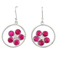 Clearance Sale- 6.82cts natural red ruby 925 sterling silver dangle earrings jewelry d34725