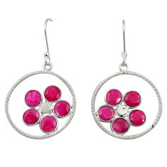 Clearance Sale- 925 sterling silver 7.63cts natural red ruby dangle earrings jewelry d34730