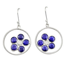 Clearance Sale- 7.28cts natural blue sapphire 925 sterling silver dangle earrings jewelry d34738