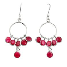 Clearance Sale- 925 sterling silver 8.44cts natural red ruby dangle earrings jewelry d34748