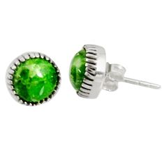 Clearance Sale- 5.46cts natural green chrome diopside 925 sterling silver stud earrings d34770