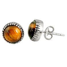 925 sterling silver 5.46cts natural brown tiger's eye stud earrings d34771