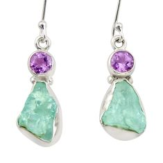 10.02cts natural aqua aquamarine rough amethyst silver dangle earrings d34784