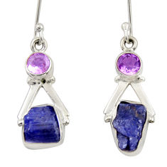 Clearance Sale- 925 silver 8.80cts natural blue tanzanite rough amethyst dangle earrings d34785