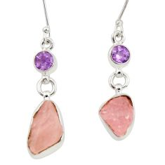 9.02cts natural pink rose quartz rough amethyst silver dangle earrings d34786