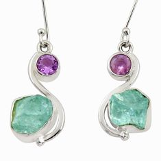 925 silver 10.41cts natural aqua aquamarine rough amethyst earrings d34790