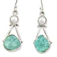 11.19cts natural aqua aquamarine rough pearl 925 silver dangle earrings d34791