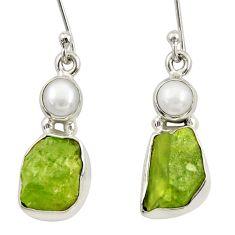 9.61cts natural green peridot rough pearl 925 silver dangle earrings d34793