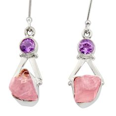 925 silver 9.05cts natural pink rose quartz rough amethyst earrings d34795