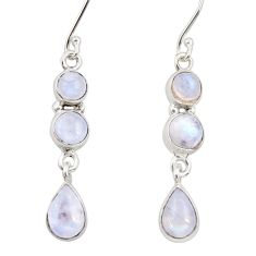 Clearance Sale- 9.47cts natural rainbow moonstone 925 sterling silver dangle earrings d34808