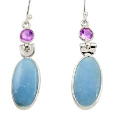 Clearance Sale- 925 silver 13.69cts natural blue angelite purple amethyst dangle earrings d34814