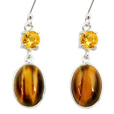 13.69cts natural brown tiger's eye citrine 925 silver dangle earrings d34816