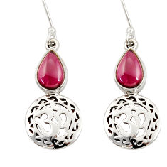 Clearance Sale- 4.18cts natural red garnet 925 sterling silver dangle earrings jewelry d34821