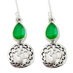 Clearance Sale- 4.19cts natural green chalcedony 925 sterling silver dangle earrings d34825