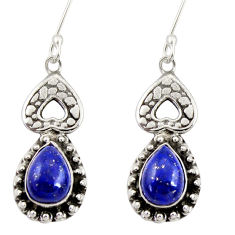 Clearance Sale- 6.45cts natural blue lapis lazuli 925 sterling silver dangle earrings d34828