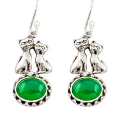 Clearance Sale- 6.04cts natural green chalcedony 925 sterling silver two cats earrings d34829