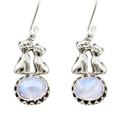 925 sterling silver 6.04cts natural rainbow moonstone two cats earrings d34830