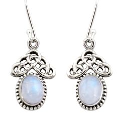 5.87cts natural rainbow moonstone 925 sterling silver dangle earrings d34836
