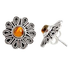1.70cts natural brown tiger's eye 925 sterling silver stud earrings d34841