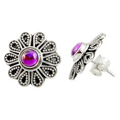 Clearance Sale- 1.70cts purple copper turquoise 925 sterling silver stud earrings jewelry d34842