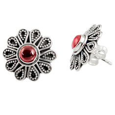 Clearance Sale- 925 sterling silver 1.79cts natural red garnet stud earrings jewelry d34844