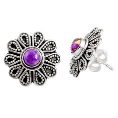 Clearance Sale- 1.80cts purple copper turquoise 925 sterling silver stud earrings jewelry d34845