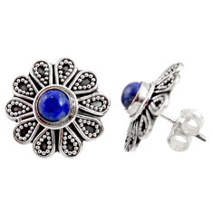 1.79cts natural blue lapis lazuli 925 sterling silver stud earrings d34849