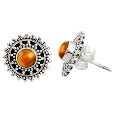 1.51cts natural brown tiger's eye 925 sterling silver stud earrings d34853