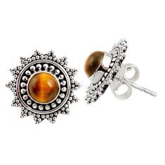 925 sterling silver 1.48cts natural brown tiger's eye stud earrings d34854