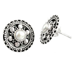 Clearance Sale- 925 sterling silver 1.94cts natural white pearl stud earrings jewelry d34858