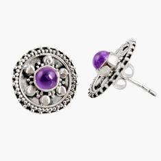 Clearance Sale- 1.70cts natural purple amethyst 925 sterling silver stud earrings jewelry d34860