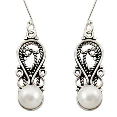 4.84cts natural white pearl 925 sterling silver dangle earrings jewelry d34861