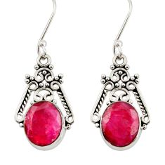 8.44cts natural red ruby 925 sterling silver dangle earrings jewelry d34862