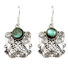 Clearance Sale- 6.57cts natural blue labradorite 925 sterling silver dangle earrings d34864