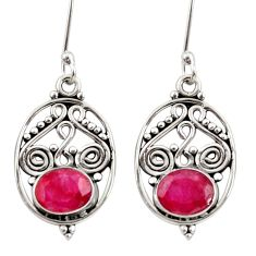 Clearance Sale- 925 sterling silver 3.85cts natural red ruby dangle earrings jewelry d34867