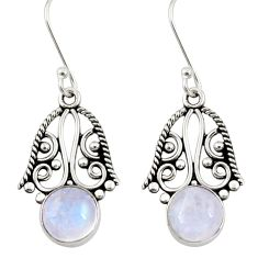 Clearance Sale- 6.40cts natural rainbow moonstone 925 sterling silver dangle earrings d34869