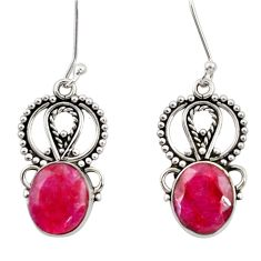 8.94cts natural red ruby 925 sterling silver dangle earrings jewelry d34871