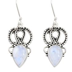 Clearance Sale- 8.77cts natural rainbow moonstone 925 sterling silver dangle earrings d34872