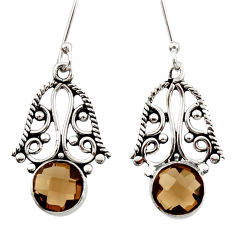 Clearance Sale- 5.24cts brown smoky topaz 925 sterling silver dangle earrings jewelry d34873