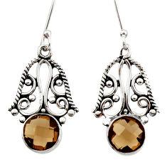 5.24cts brown smoky topaz 925 sterling silver dangle earrings jewelry d34873