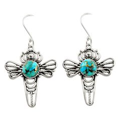 Clearance Sale- 8.42cts blue copper turquoise 925 sterling silver dragonfly earrings d34876