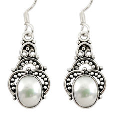 Clearance Sale- 925 sterling silver 6.49cts natural white pearl dangle earrings jewelry d34877