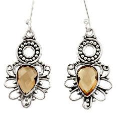 8.31cts brown smoky topaz 925 sterling silver dangle earrings jewelry d34878