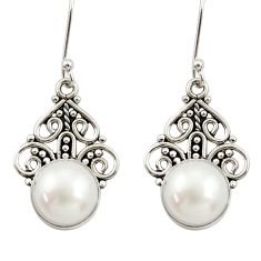 Clearance Sale- 9.99cts natural white pearl 925 sterling silver dangle earrings jewelry d34879