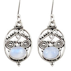 925 sterling silver 4.43cts natural rainbow moonstone dangle earrings d34880